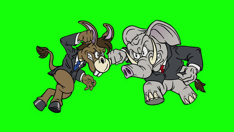 Cartoon Democrat Donkey vs Republican Elephant on Green Screen Animation