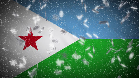 Djibouti flag falling snow loopable, New Year and Christmas background, loop Animation