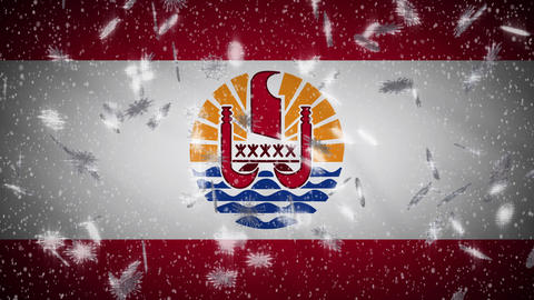 French Polynesia flag falling snow loopable, New Year and Christmas, loop Animation