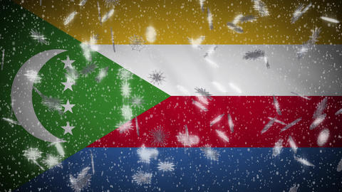 Comoros flag falling snow loopable, New Year and Christmas background, loop Animation