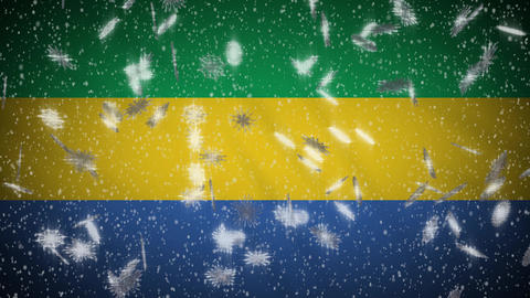 Gabon flag falling snow loopable, New Year and Christmas background, loop Animation