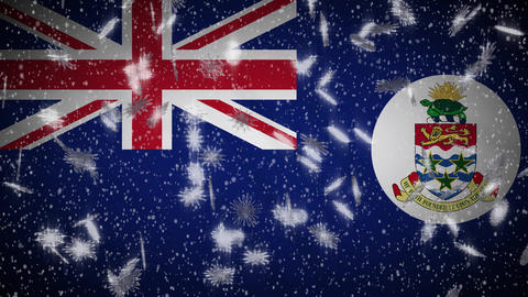 Cayman Islands flag falling snow loopable, New Year and Christmas, loop Animation