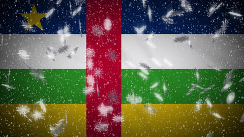 Central African Republic flag falling snow loopable, New Year and Christmas loop Animation