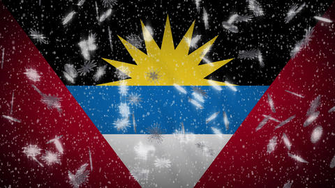 Antigua and Barbuda flag falling snow loopable, New Year and Christmas, loop Animation