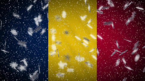 Chad flag falling snow loopable, New Year and Christmas background, loop Animation