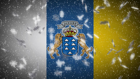 Canary Islands flag falling snow loopable, New Year and Christmas, loop Animation
