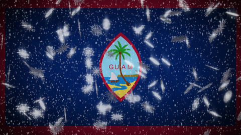 Guam flag falling snow loopable, New Year and Christmas background, loop Animation