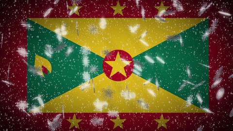 Grenada flag falling snow loopable, New Year and Christmas background, loop Animation