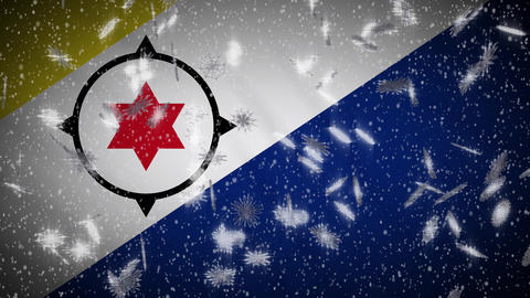 Bonaire flag falling snow loopable, New Year and Christmas background, loop Animation