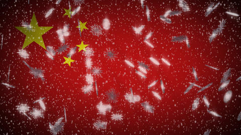 China flag falling snow loopable, New Year and Christmas background, loop Animation