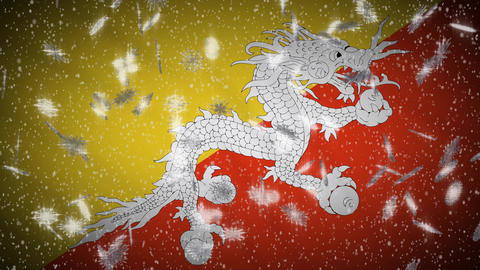 Bhutan flag falling snow loopable, New Year and Christmas background, loop Animation