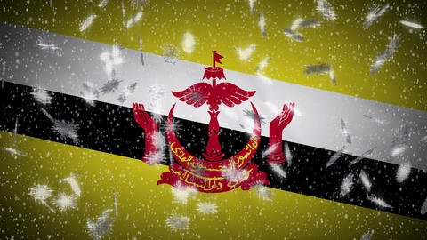 Brunei flag falling snow loopable, New Year and Christmas background, loop Animation