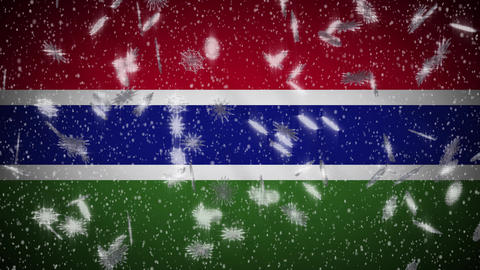 Gambia flag falling snow loopable, New Year and Christmas background, loop Animation