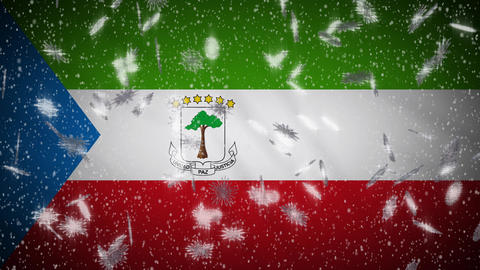 Equatorial Guinea flag falling snow loopable, New Year and Christmas, loop Animation