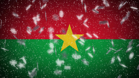 Burkina Faso flag falling snow loopable, New Year and Christmas background, loop Animation