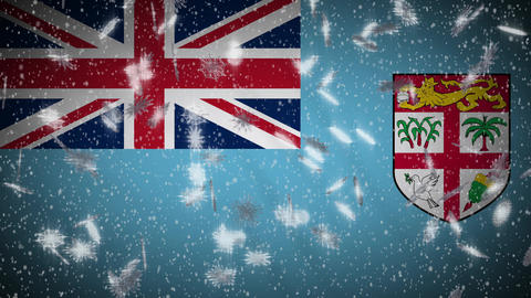 Fiji flag falling snow loopable, New Year and Christmas background, loop Animation