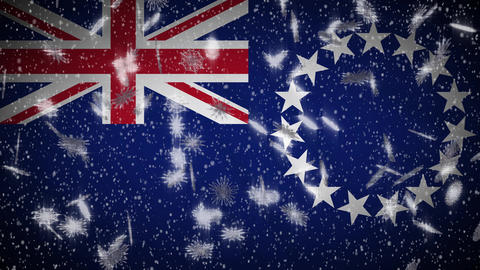 Cook Islands flag falling snow loopable, New Year and Christmas background, loop Animation
