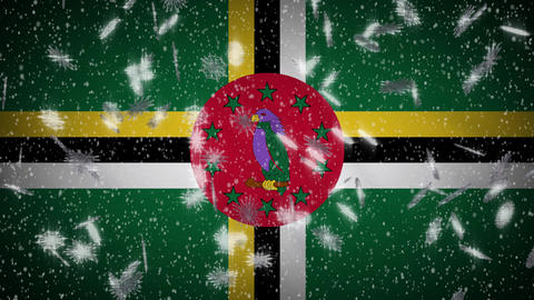 Dominica flag falling snow loopable, New Year and Christmas background, loop Animation