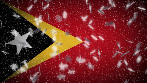 East Timor - Timor-Leste flag falling snow loopable, New Year and Christmas loop Animation