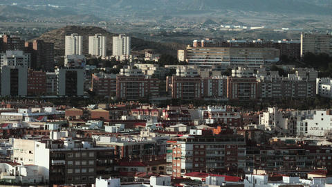 Apartment houses and hills in Alicante, Spain Live Action