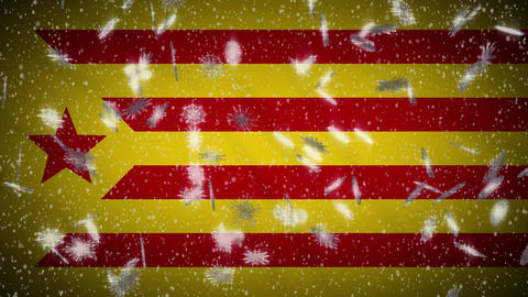 Red estelada flag falling snow loopable, New Year and Christmas background, loop Animation