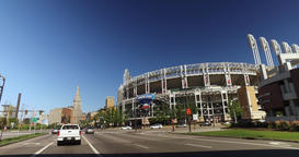 Driving on Ontario Street in Cleveland with Progressive Field in Foreground Footage