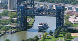 Tourist Boat on Cuyahoga River Travels Under Drawbridge Footage