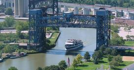 Tourist Boat on Cuyahoga River Travels Under Drawbridge Footage