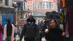 Morning street scene Kathmandu Nepal 2009 Footage