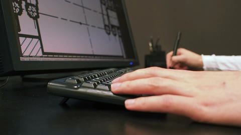 Tablet 31. Close up of the hand of a engineer editing scheme in CAD system, sign Footage