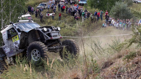 Offroad car moving on the hill Footage