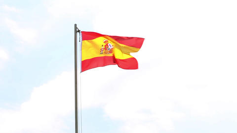 Textile flag of Spain on a flagpole Footage
