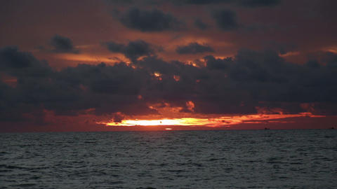 Sunset over the tropical ocean Footage