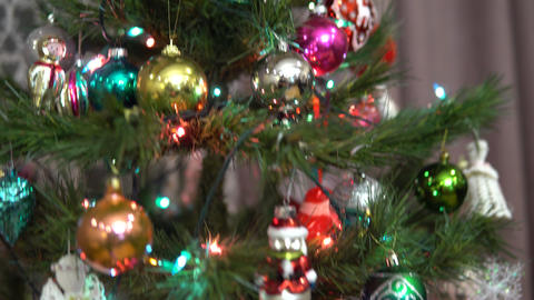 Decorated Christmas tree close-up. Christmas holiday. Christmas tree decorated Live Action