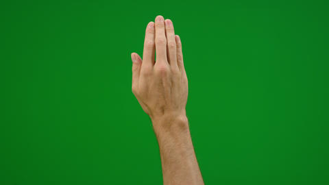 Set of 10 different full hand swipe gestures fast and slow on greenscreen Live Action