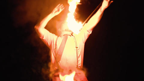young man shows fire show Live Action