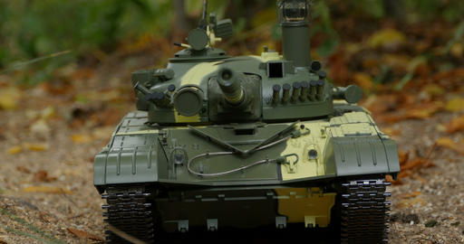 tank T-72 front view camera in motion Live Action