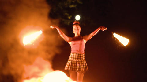 young girl shows fire show Live Action