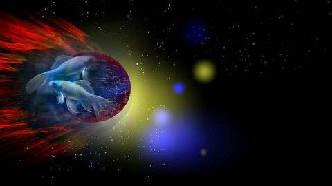 263 3D animated ZODIAK horoscope astrology symbol PISCES Animation