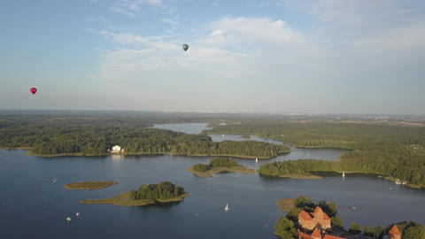 Balloons over Trakai Castle, which is located in Lithuania near the capital of Live Action
