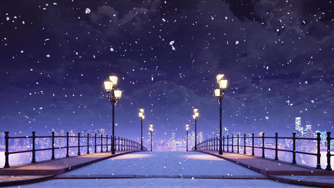 Bridge and city skyline at snowfall winter night Animation