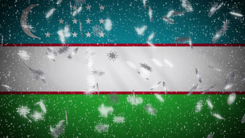 Uzbekistan flag falling snow loopable, New Year and Christmas background, loop Animation