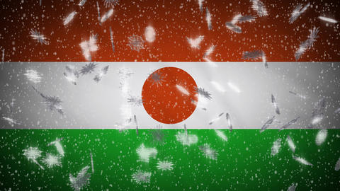 Niger flag falling snow loopable, New Year and Christmas background, loop Animation