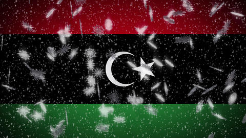 Libya flag falling snow loopable, New Year and Christmas background, loop Animation