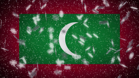 Maldives flag falling snow loopable, New Year and Christmas background, loop Animation