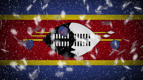 eSwatini flag falling snow loopable, New Year and Christmas background, loop Animation