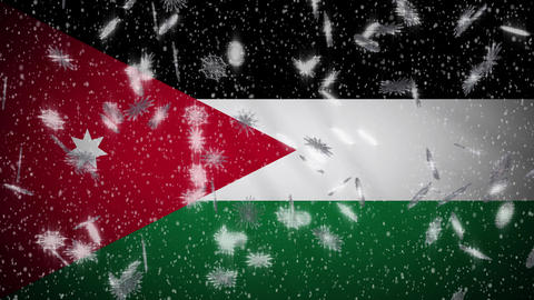 Jordan flag falling snow loopable, New Year and Christmas background, loop Animation