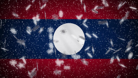 Laos flag falling snow loopable, New Year and Christmas background, loop Animation
