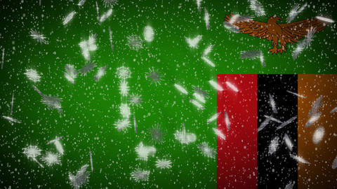 Zambia flag falling snow loopable, New Year and Christmas background, loop Animation
