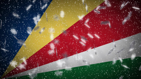 Seychelles flag falling snow loopable, New Year and Christmas background, loop Animation